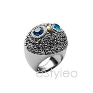 Fossil Brand Owl Ring Glitz Pave Crystals